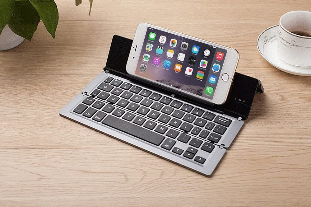 Gray Aluminum Alloy HoMei Foldable Bluetooth USB Keyboard Ultra-Slim Portable Wireless Wired Keyboard Built-in Rechargeable Li-Polymer Battery For IOS Android Windows
