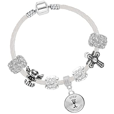 6500a4bcf Girls First Holy Communion 16cm White Leather Charm Bracelet and Card Gift  Set: Amazon.co.uk: Jewellery