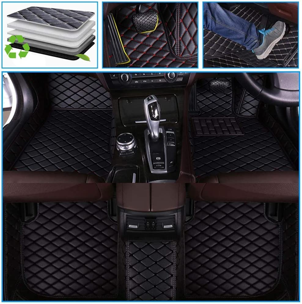 Muchkey car Floor Mats fit for Volvo XC90 7-Seats 2015-2019 Full Coverage All Weather Protection Non-Slip Leather Floor Liners Black