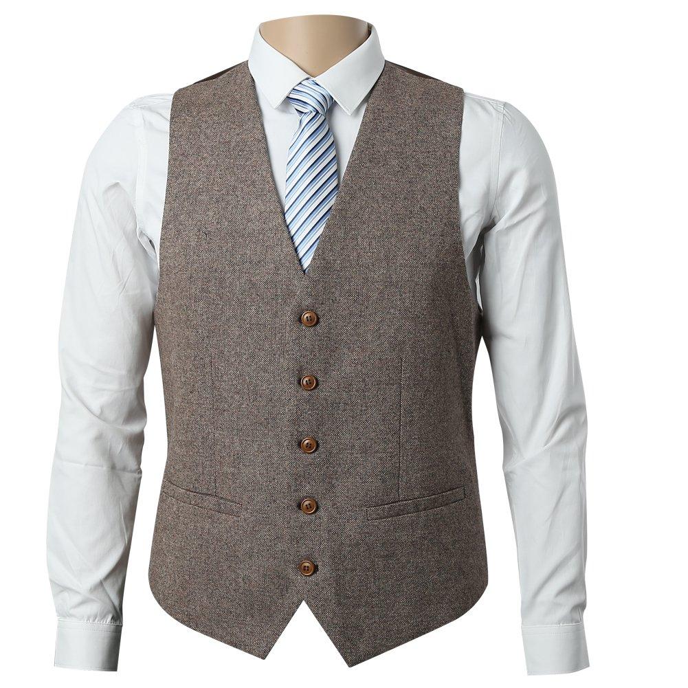 Zicac Men's Unique Advanced Custom Tweed Vest Skinny Wedding Dress Vest (M, Tweed Brown)