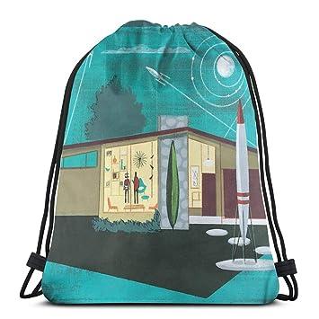 Rocket Home Drawstring Backpack Bag Lightweight Gym Travel ...