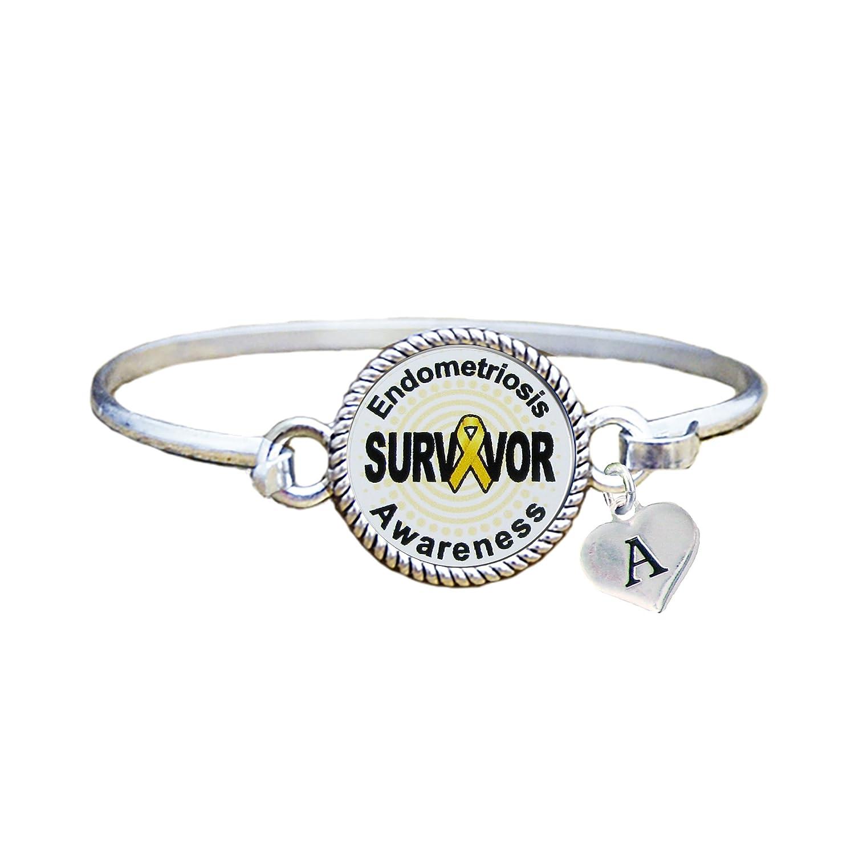 Endometriosis Survivor Silver Bangle Bracelet Jewelry Family yrFjfqdOc