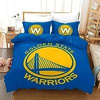 Vampsky NBA Golden State Warriors Basketball Club Teenagers Household Bedding 3 Piece Set with Zipper Closure, 100…