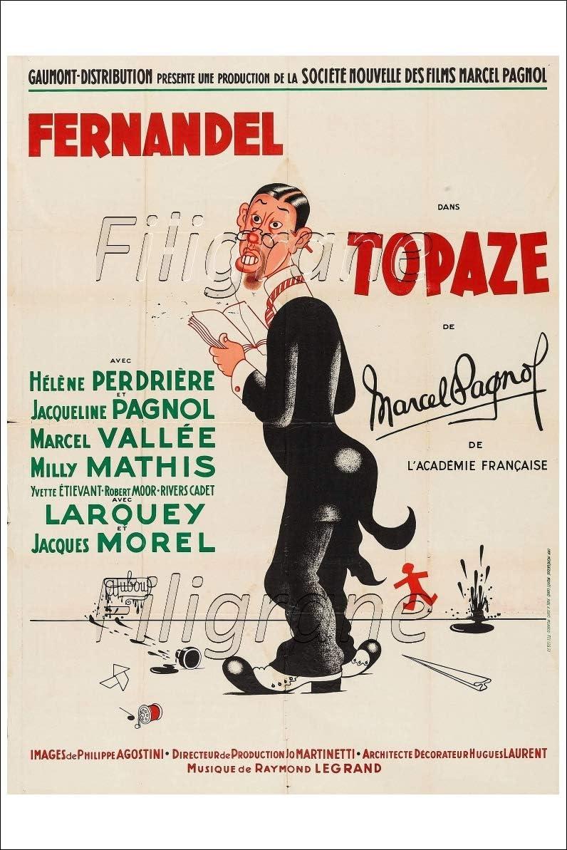 PostersAndCo /™ Topaze Film FERNANDEL Rmns-Poster//Reproduction 50x70cm d1 Affiche Vintage//R/éTRO *