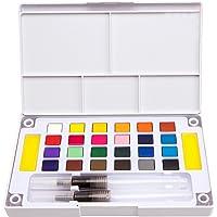Gosear El Conjunto de Pintura de pigmentos s¨lidos de Acuarela DE 24 Colores Incluye Pinceles de Agua Que mezclan la Paleta para el Dibujo de Arte