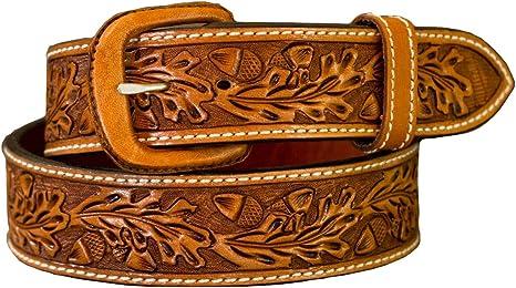 British Tan 32 waist Hand Tooled Oak Leaf Leather Belt