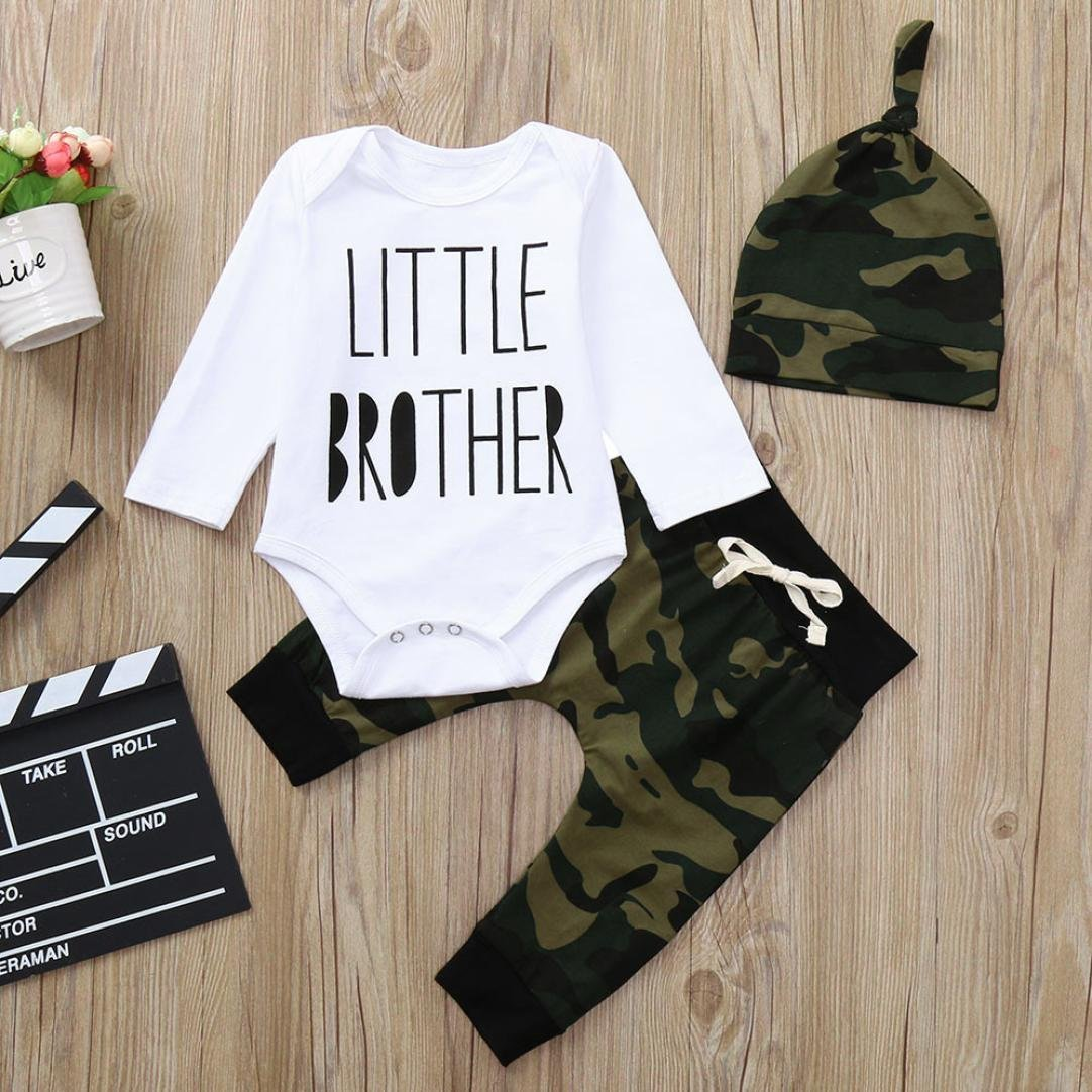 Casual Infant Little Baby Girls Winter Clothes Set Leatter Cotton Romper Camouflage Pants Hat Outfits Set