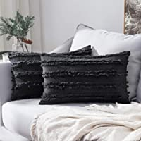 MIULEE Set of 2 Decorative Boho Throw Pillow Covers Cotton Linen Striped Jacquard Pattern Cushion Covers for Sofa Couch Living Room Bedroom 12x20 Inch Black
