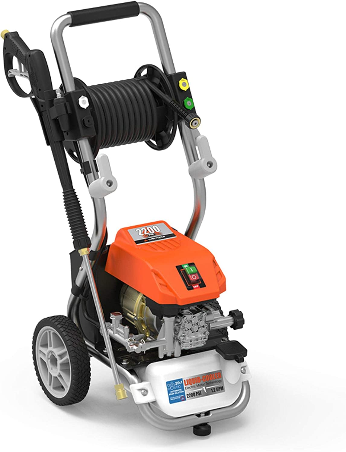 "YARD FORCE YF2200LC, 1.2 GPM, 13 amp Water-Cooled Motor, 25' ""Live"" Hose Reel & Bonus Turbo Nozzle, 1 Gallon Soal Tank 2200 Psi Electric Pressure Washer, Orange/Black"