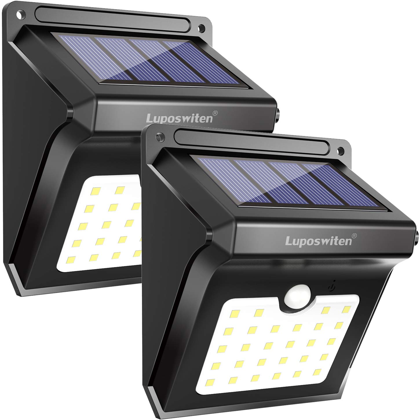 Luposwiten Solar Lights Outdoor 28 LEDs Motion Sensor Wireless Waterproof Security Light, Solar Lights for Patio, Yard, Driveway, Garage, Pathway, 2 Pack