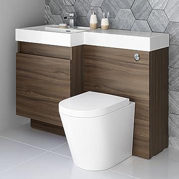 Cool 1200Mm Walnut Vanity Unit Round Toilet Bathroom Sink Left Hand Storage Furniture Home Interior And Landscaping Transignezvosmurscom