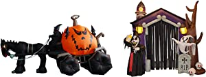 TWO JUMBO HALLOWEEN PARTY DECORATIONS BUNDLE, Includes 11.5 Foot Long Inflatable Grim Reaper Pumpkin Carriage, and 8.5 Foot Tall Inflatable Haunted House Blowup with Lights Outdoor Indoor Decoration
