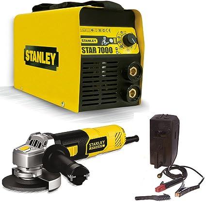 Soldador Inverter Stanley 7000 200 A con kit + Amoladora angular Stanley FME821-QS,