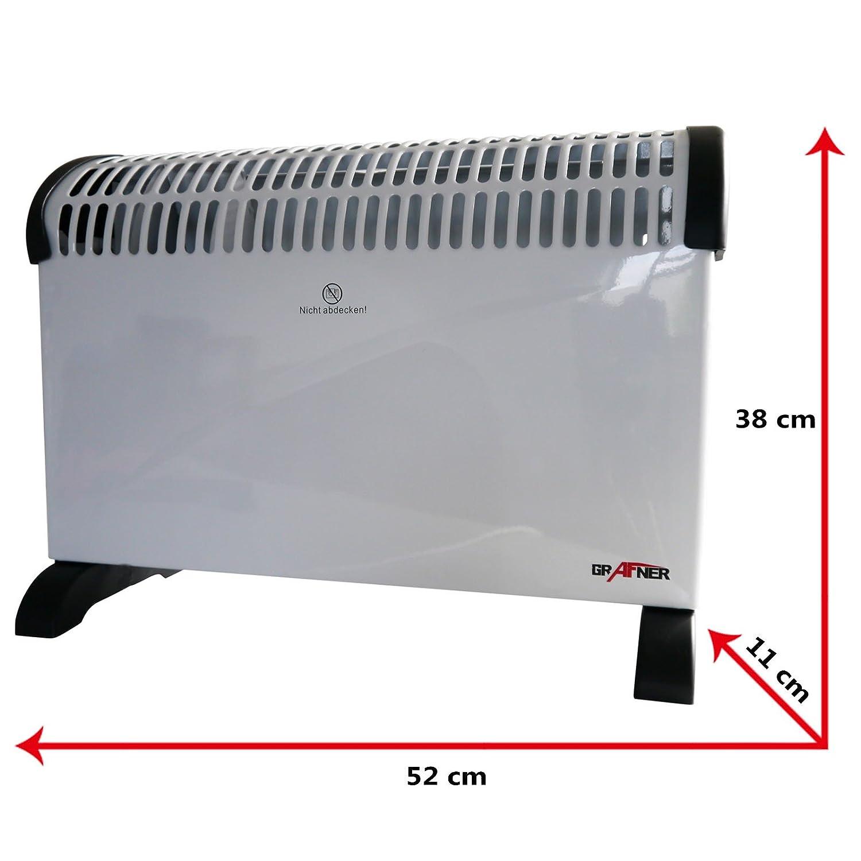 Grafner®, estufa convector de 2000 vatios con ventilador de refrigeración, turboventilador, calefactor eléctrico, calefactor, radiador, convector de aire ...