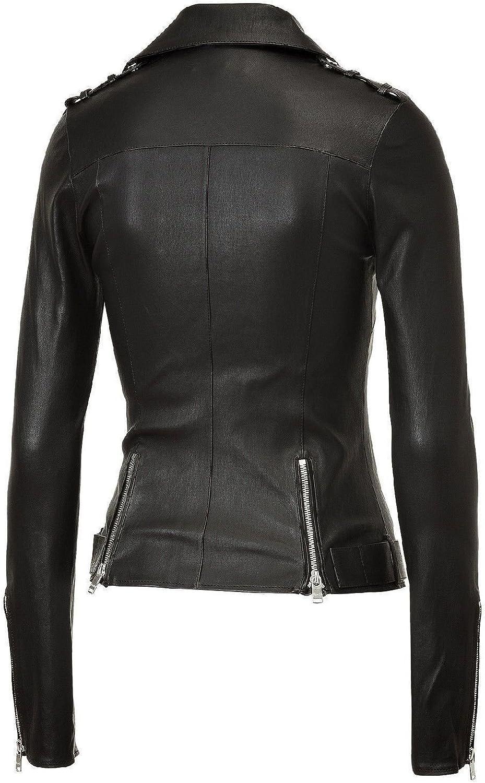 Fab Leather Womens Lambskin Bomber Biker Leather Jacket