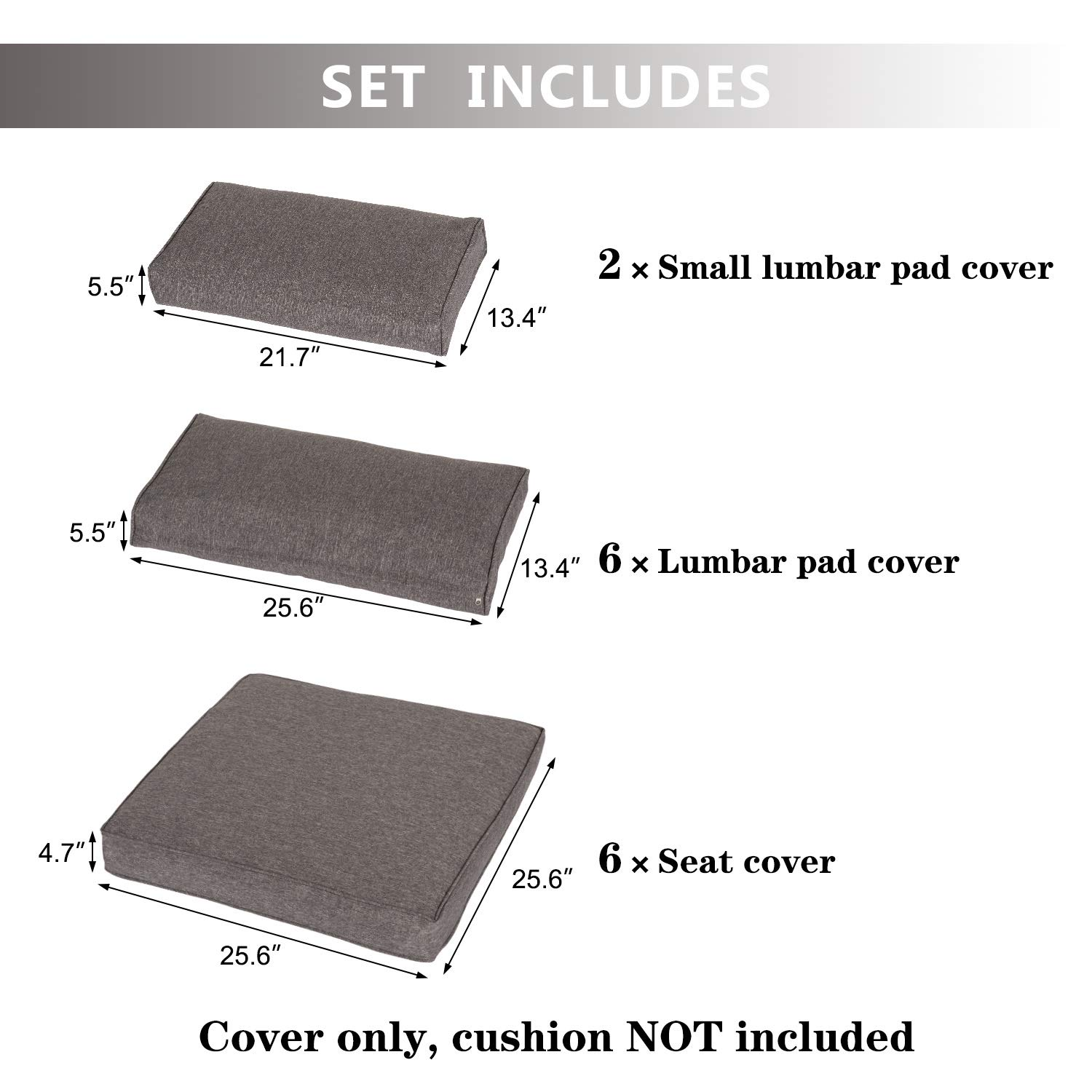 Kinbor Patio Wicker Furniture Sectional Sofa Seat Rattan Patio Seating Cushion Cover Set – Replacement Covers Only Dark Grey