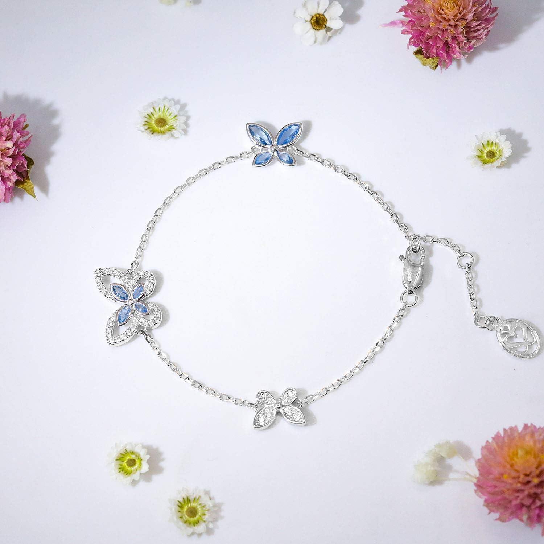SISMIURRA S925 Sterling Silver Chain Link Butterfly Bracelet For Women Girls Birthday Gift Present Fine Jewelry