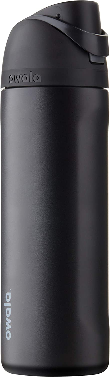 Owala FreeSip Insulated Stainless-Steel Water Bottle with Locking Push-Button Lid, 24-Ounce, Very, Very Dark