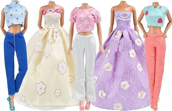 Abito Per Barbie 5 Set Beetest Vestiti Per Barbie 2 Set Abiti Da Fata Abito Partito E 3 Set Top E Pantaloni Accessori Per Barbie Giocattoli Regalo Per Bambini Amazon It Giochi E Giocattoli