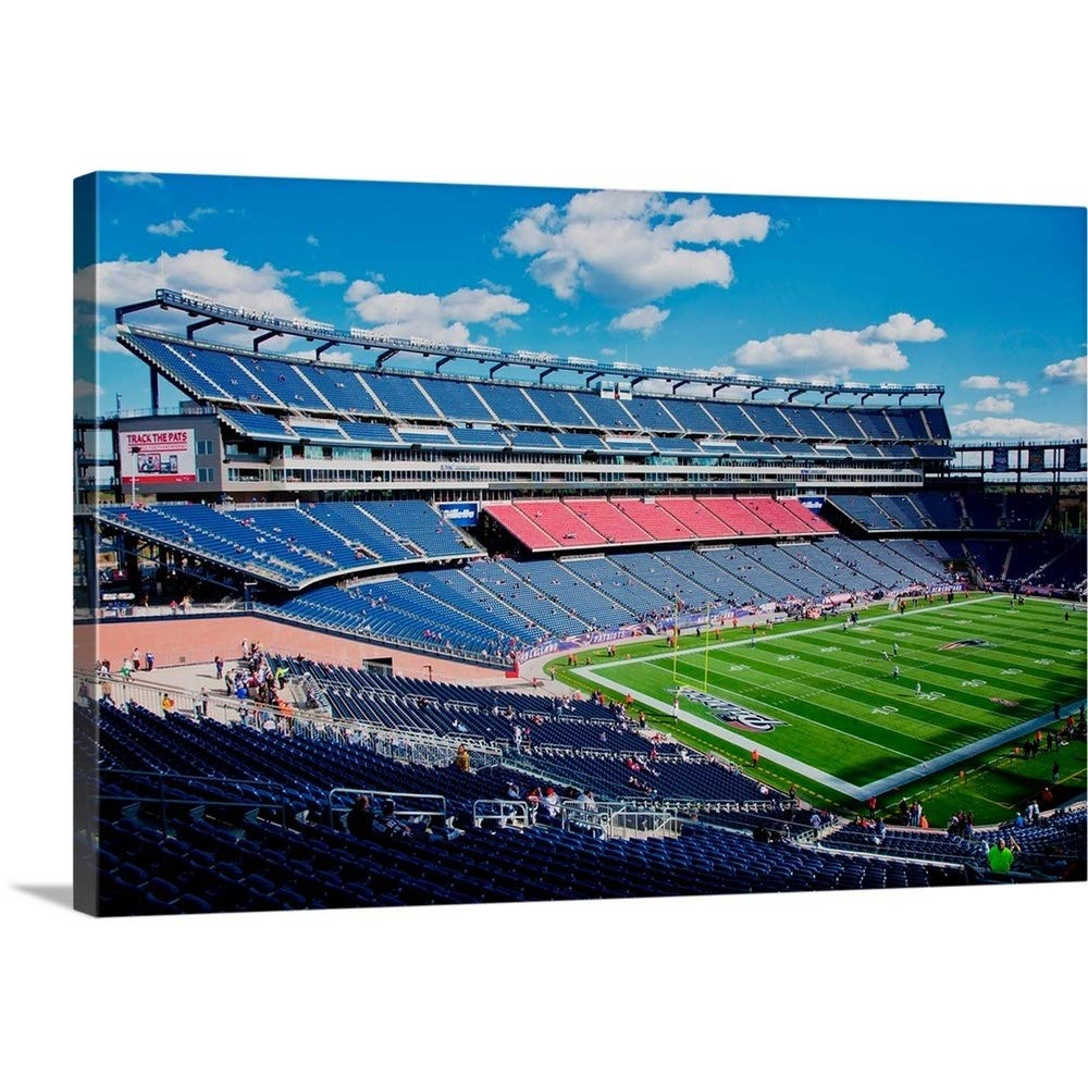 """GREATBIGCANVAS Gallery-Wrapped Canvas Entitled Elevated View of Gillette Stadium, New England Patriots, Boston, MA by Panoramic Images 36""""x24"""""""