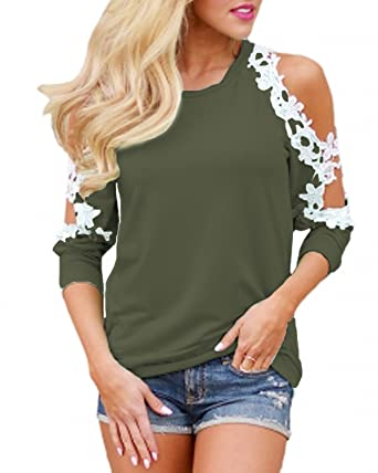 7d5cd236fbdf80 StyleDome Womens Floral Lace Shirt Sexy Cold Shoulder Tops Crochet Long  Sleeve Blouses Army Green 4