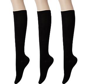 4c160a10d KONY Women s Cotton Knee High Socks - Casual Solid   Triple Stripe Colors  Fashion Socks 3