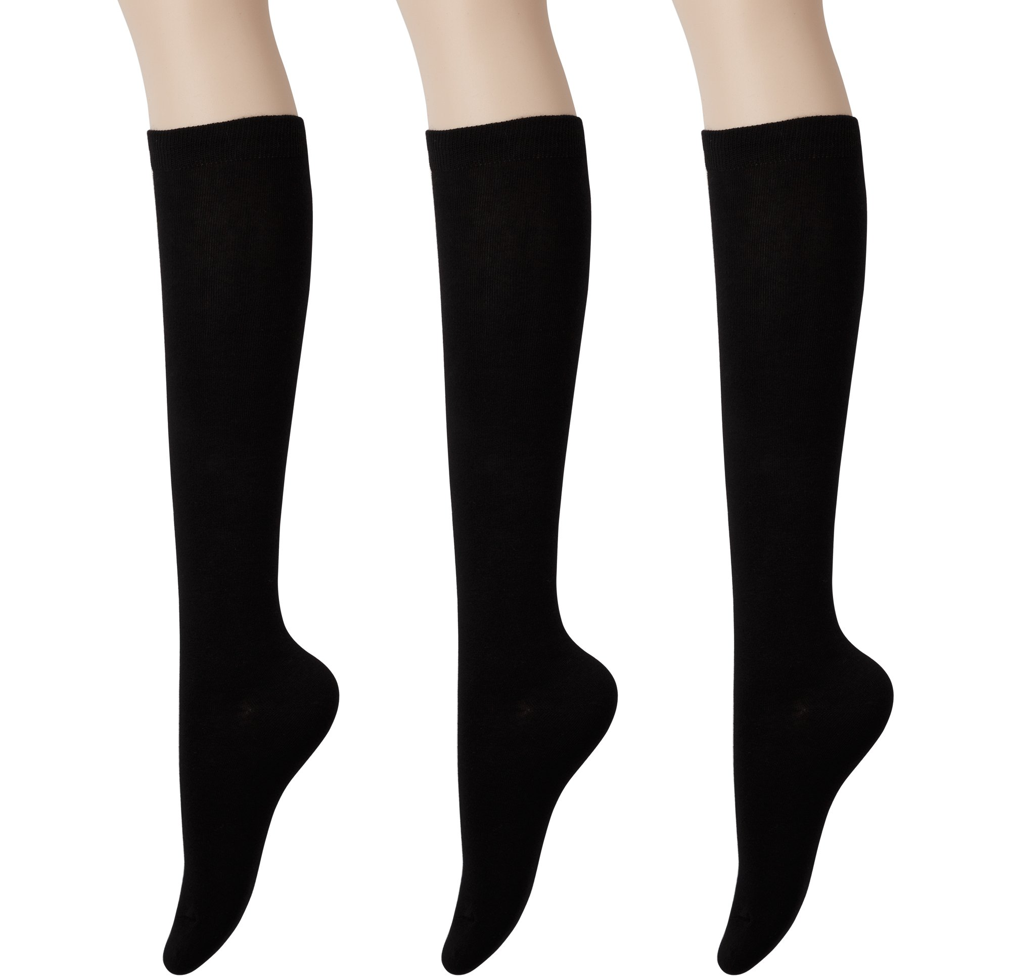 KONY Womens Cotton Knee High Socks - Casual Solid & Triple Stripe Colors Fashion Socks 3 Pairs (Womens Shoe Size 5-10) (Solid Black - 3 Pairs)