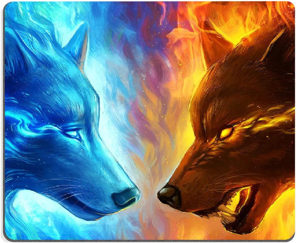 """Ice and Fire Wolf Head Galaxy Mouse Pad,Gaming Non-Slip Rubber Base Mouse Pads for Computers Laptop Office, 9.5""""x7.9""""x0.12"""" Inch(240mm x 200mm x 3mm)"""