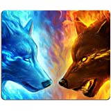 """Ice and Fire Wolf Head Galaxy Mouse Pad,Gaming Non-Slip Rubber Base Mouse Pads for Computers Laptop Office, 9.5""""x7.9""""x0…"""