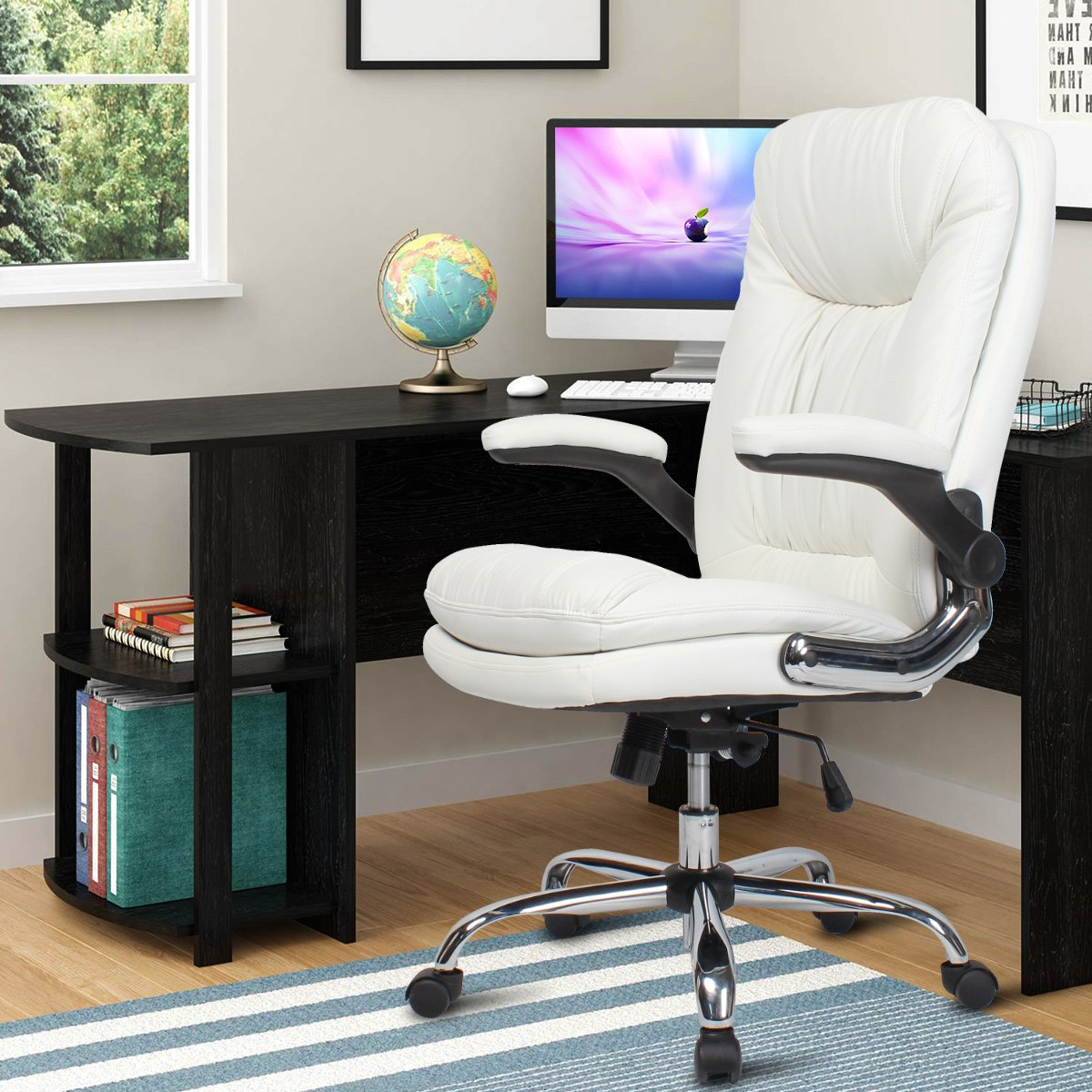 YAMASORO Ergonomic Office Chair with Flip-Up Arms and Comfy Headrest PU Leather High-Back Computer Desk Chair Big and Tall Capacity 330lbs White by YAMASORO (Image #2)