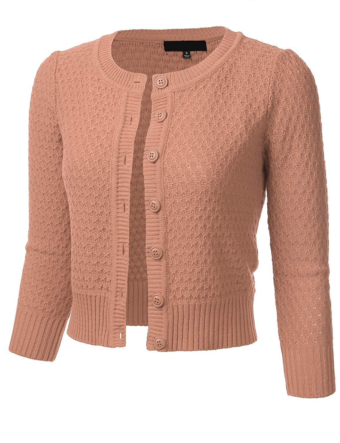 1930s Style Sweaters | Vintage Sweaters FLORIA Womens Button Down 3/4 Sleeve Crew Neck Cotton Knit Cropped Cardigan Sweater (S-3X) $25.99 AT vintagedancer.com