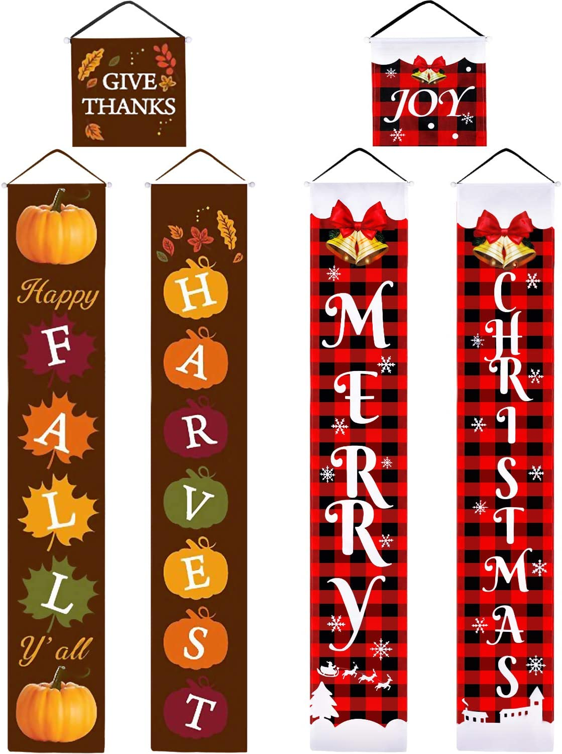 Tatuo 3 Pieces Christmas Thanksgiving Reversible Banner Christmas Thanksgiving Porch Sign Merry Christmas and Fall Harvest Banner Christmas Plaid Hanging Banner for Holiday Outdoor Indoor Decor