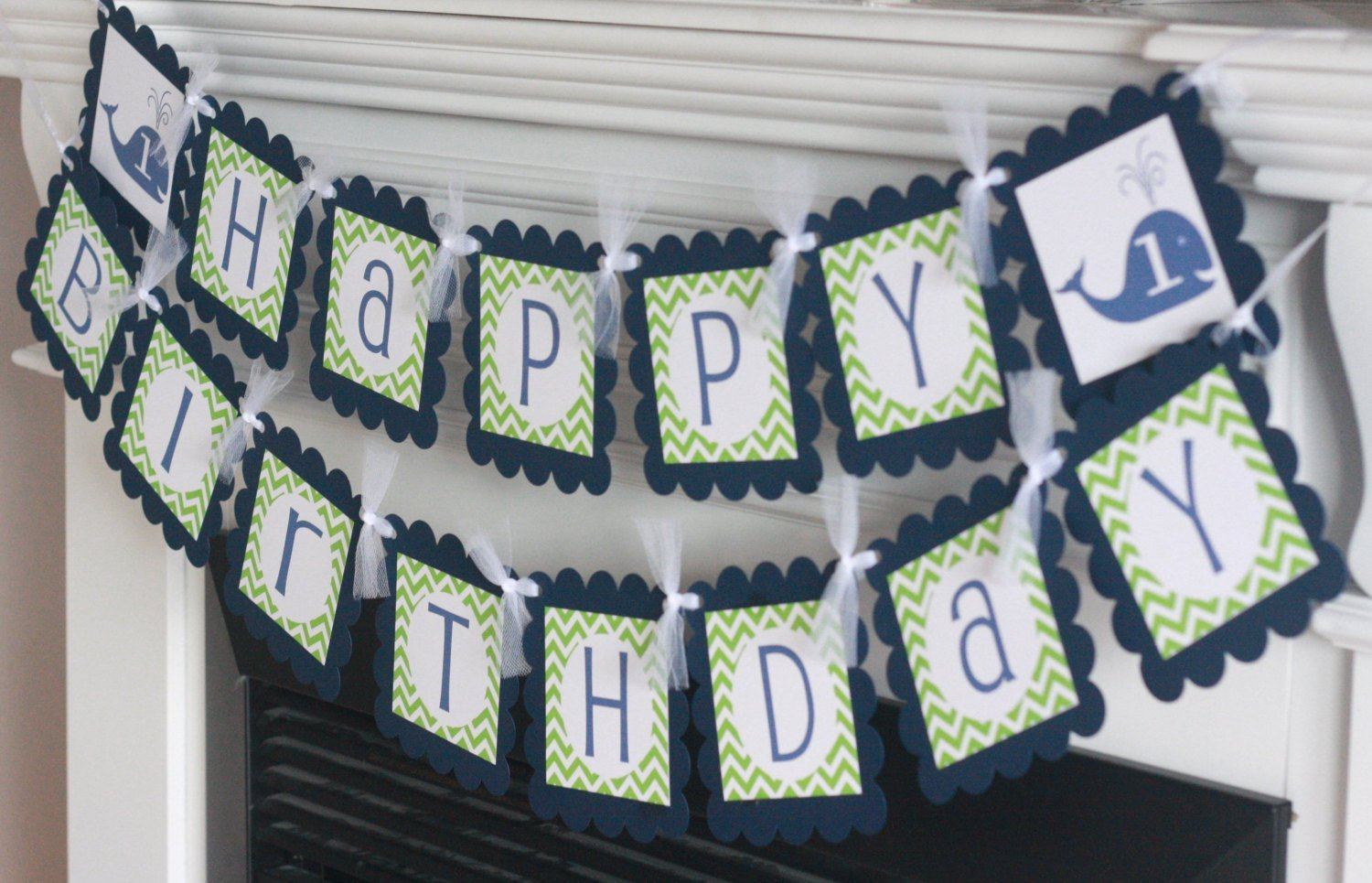 Door Signs Available Whale Nautical Green /& Navy Blue Chevron Birthday Cupcake Toppers Banners 12 Party Packages Tags