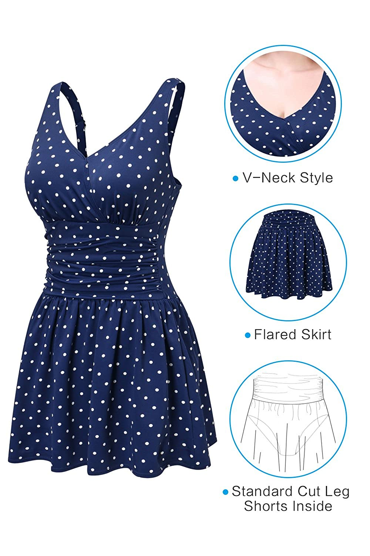 1f4d03efe08f ... PERONA Plus Size Swimwear Tummy Control Swimdress Size12-28 One Piece  Swimsuit with Flared Skirt ...