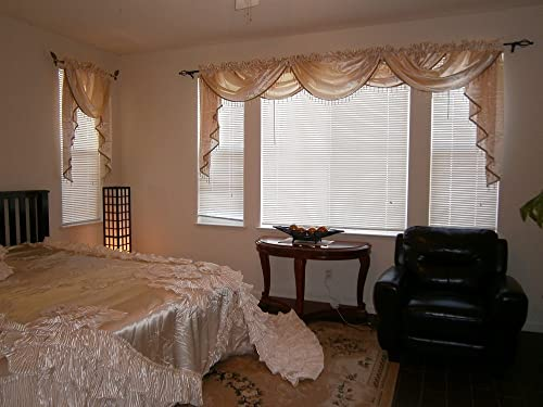 OctoRose Royalty Custom Waterfall Window Valance Swags Tails, Window Curtain Set, Curtain Panel Cream, 5pcs-132×47 66x37x3