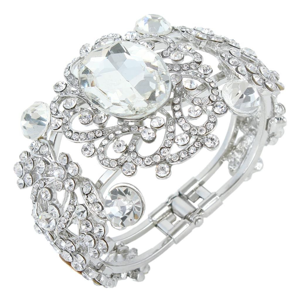 Ever Faith Wedding Silver-Tone Flower Vine Art Deco Clear Austrian Crystal Bracelet A12474-1