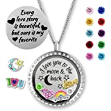 Floating Locket Necklace with Birthstones for Mom & Grandma- I Love You To The Moon And Back Jewelry Gifts