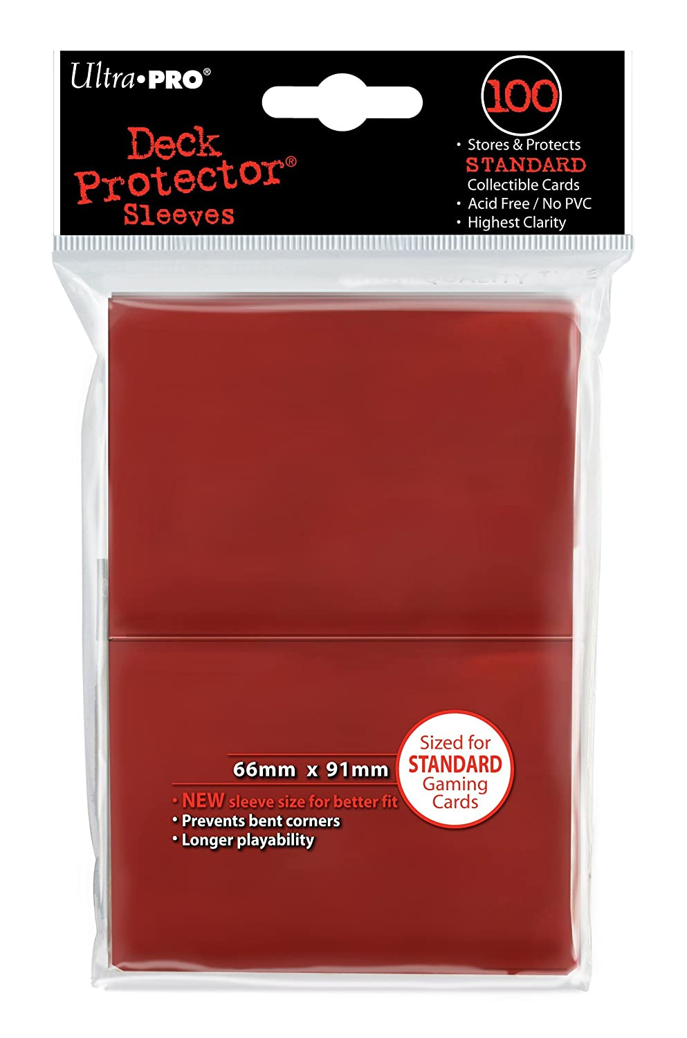 Ultra Pro Deck Protector, Standard, Red, 100 Count 82694
