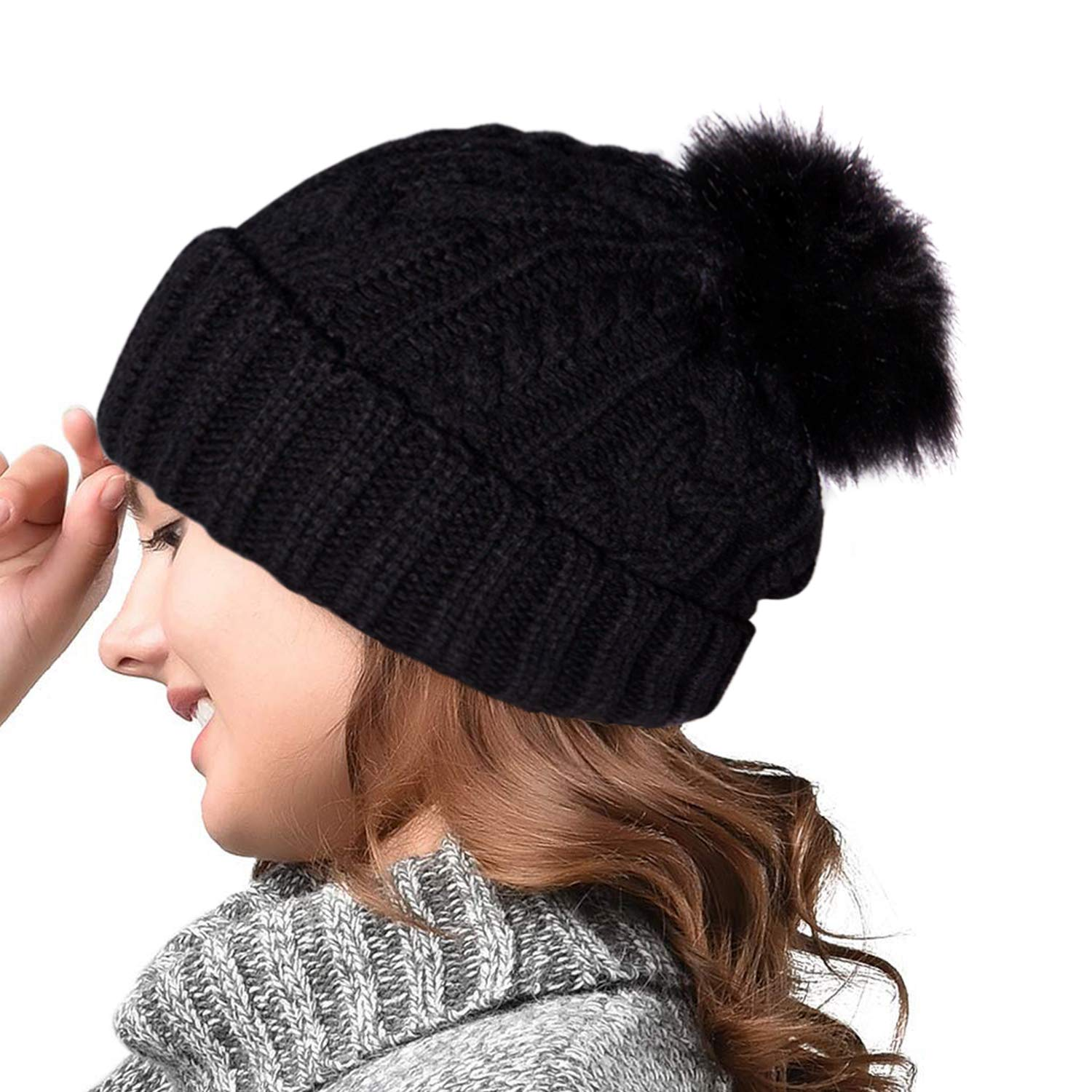 YSense Beanie Hat Black and White 2 Pack Women Winter Knitted Double Layer Lovely Bobble Hats with Faux Pompom