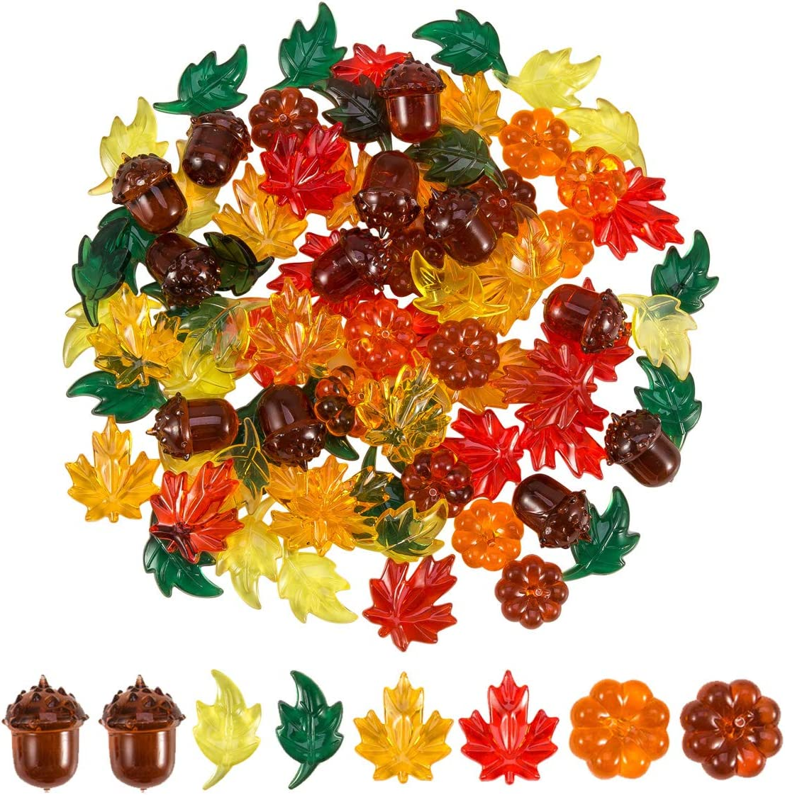 84 Pieces Acrylic Leaves Mini Acrylic Pumpkin Maple Leaves Acorns Crystals Gems for Thanksgiving Home Table Scatters Decoration Autumn Table Scatters Favor Vase Filler(5 Colors)