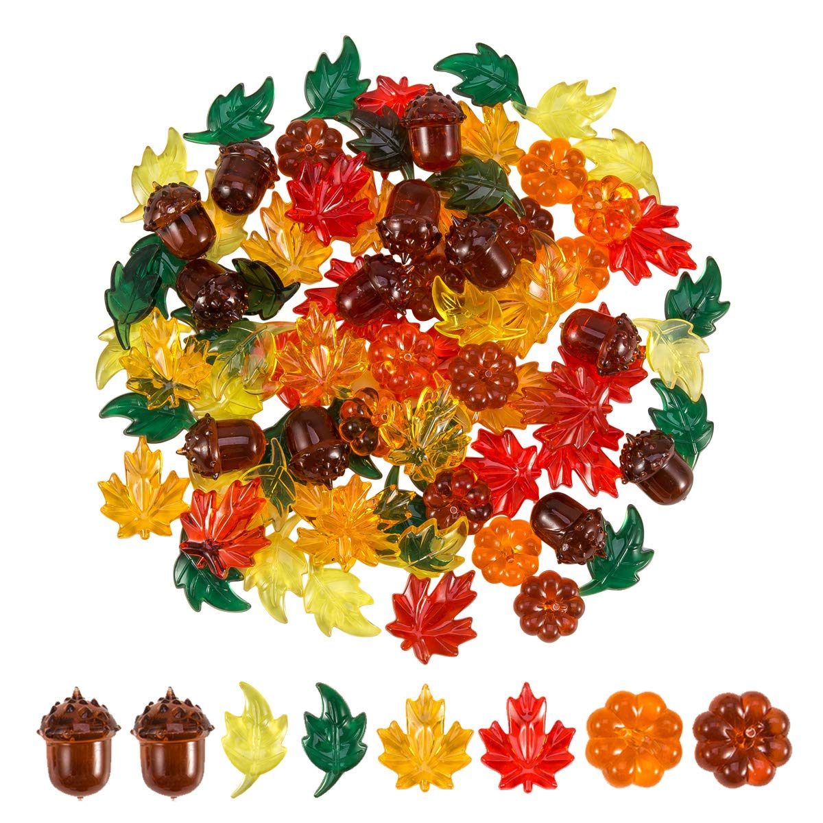 84 Pieces Acrylic Leaves Mini Acrylic Pumpkin Maple Leaves Acorns Crystals Gems for Thanksgiving Home Table Scatters Decoration Autumn Table Scatters Favor Vase Filler(5 Colors) by Toperd
