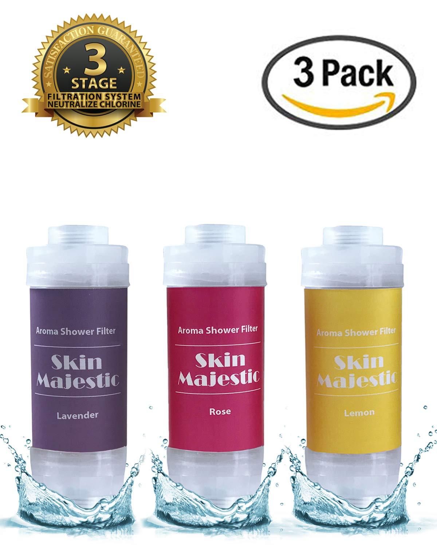 Skin Majestic Aroma Shower Filter - Microfiber Polypropylene Filter for Fine Sediment, Rust - Eliminates Chlorine Vitamin C, Milk Powder, Propolis, Healthier Skin and Hair (Multipack x 1 Each)