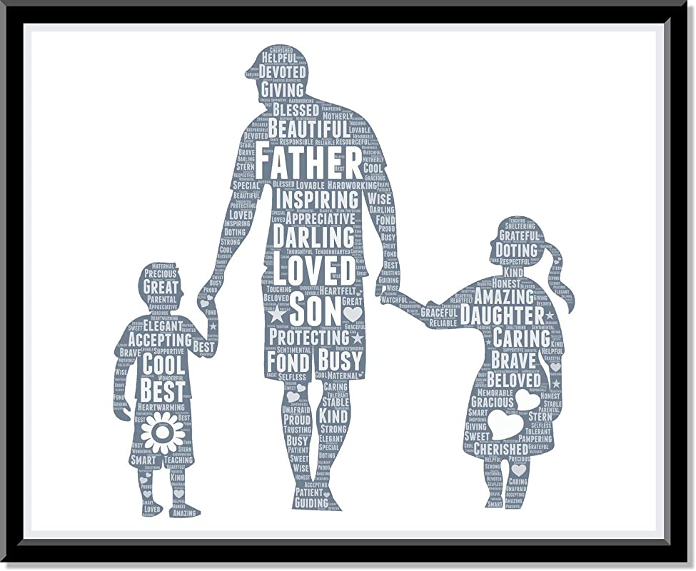 Father Son and Daughter Print, Dad Gifts Wall Art from Words, Personalized Father's day gifts for him, Birthday Gifts, gift for dad Word Art Typography Custom Print for Home Room Decor…