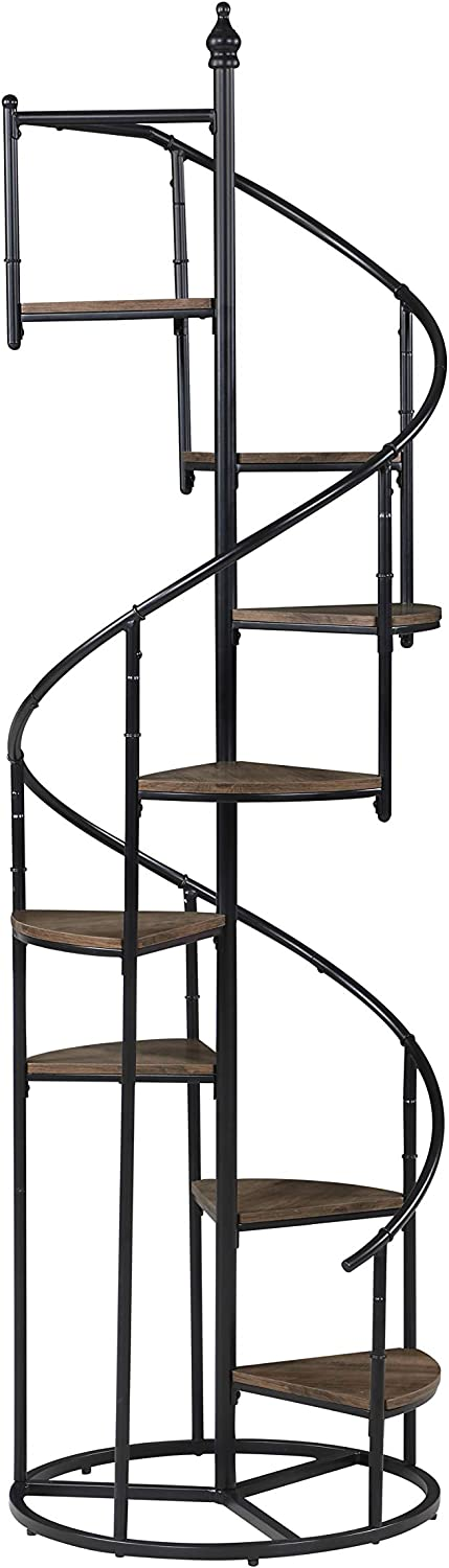Coaster Home Furnishings 8-Shelf Staircase Rustic Brown and Black Bookcase