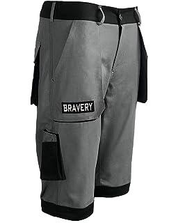 506c61a95c667 Bravery® Pantalon Court de Travail Cargo, Shorts Pantacourt avec Multipoche  Professionnel - 100%