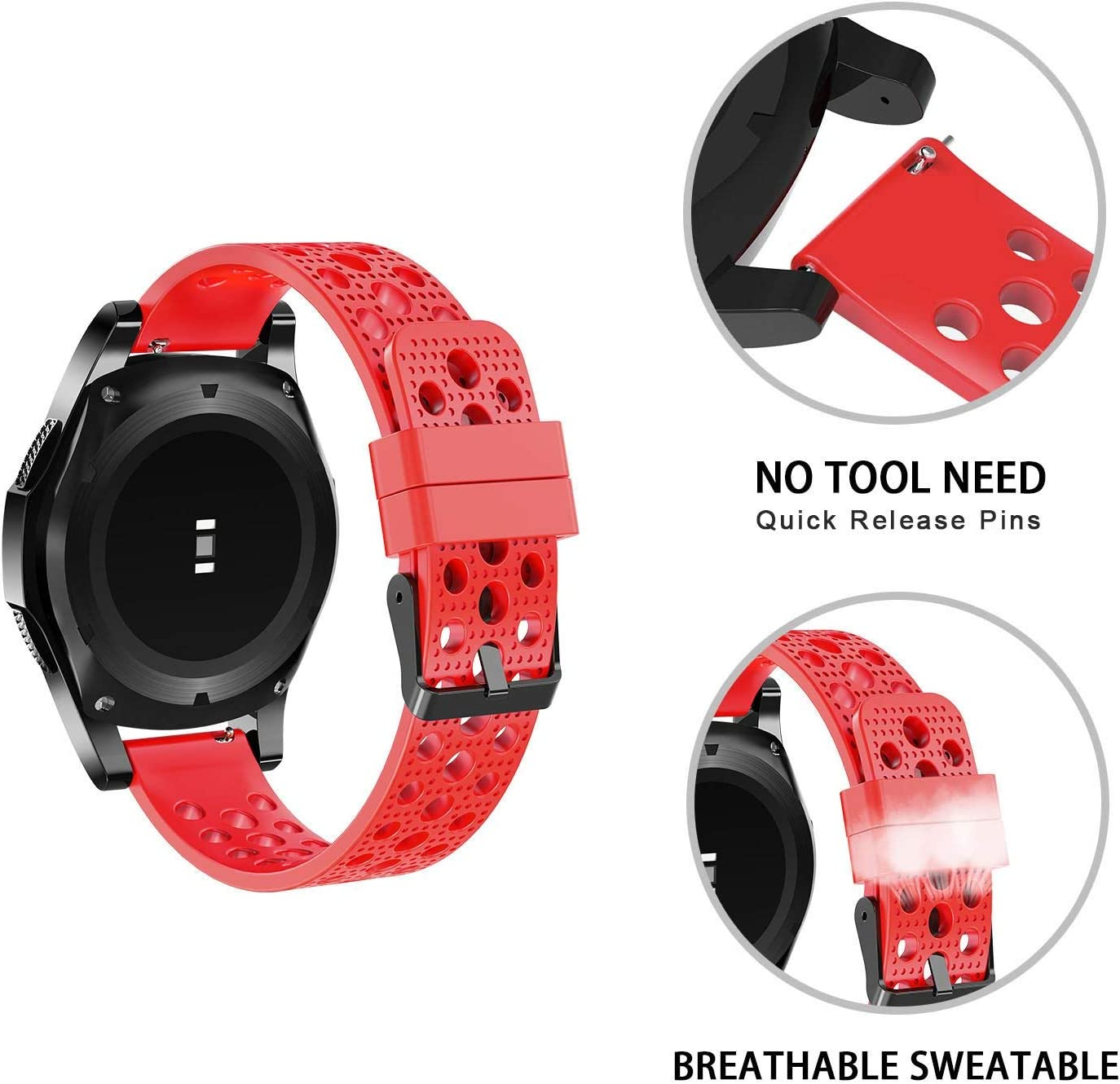 Black Compatible for PowerWatch 2 Band Blueshaw Silicone Replacement Wristbands Sport Strap with Metal Buckle Compatible for Matrix PowerWatch 2