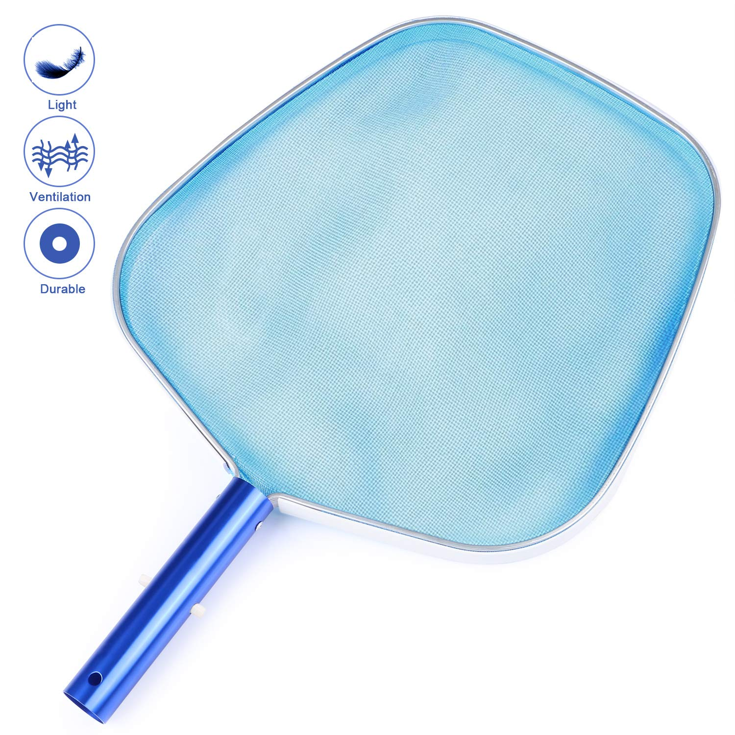 Homga Fine Mesh Pool Net, Heavy Duty Leaf Skimmer - Professional Pool Skimmer, for Spas, Swimming Pool, Hot Tubs,Fountain, Fish Tank Ect for Cleaning Pool Leaves and Debris by Homga