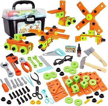 Buyger 82 Piezas Caja Herramientas Juguete Maletin Construccion Herramientas Bricolaje Juego de Imitación para Niños Infantil 3 4 5 Años: Amazon.es: Juguetes y juegos