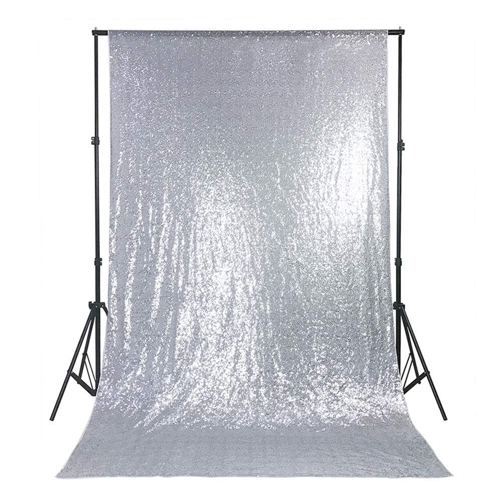 4ftx8ft Silver Sequin Background Bridal Photo Booth Wedding Backdrop