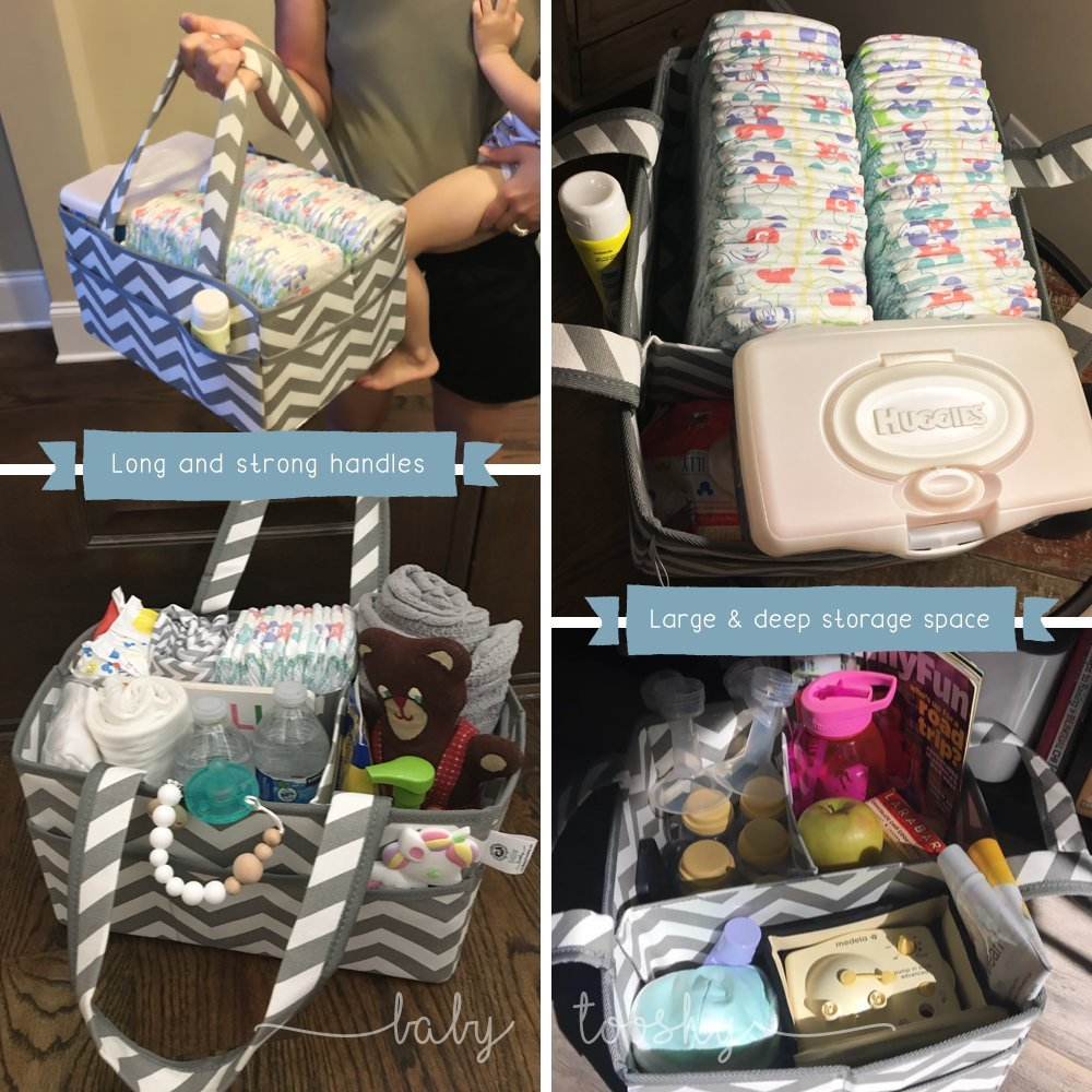 Chevron Grey Removable Divider for Multipurpose use Baby Tooshy Diaper Caddy Organizer Sturdy Keeps Everything Organized Suitable for Cloth or Disposable Diapering Large Portable Strong